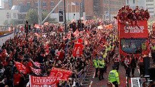 Festa em Liverpool depois da vitória na Liga dos Campeões