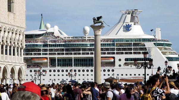 A cruise ship on the Giudecca Canal facing Saint Mark's Square.