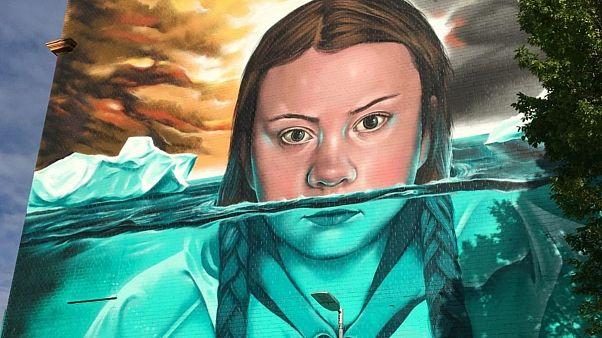 Greta Thunberg mural, by Jody Thomas in Bristol, UK
