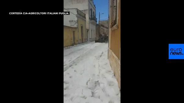VÍDEO: Impresionante granizada en el sur de Italia alerta a los agricultores