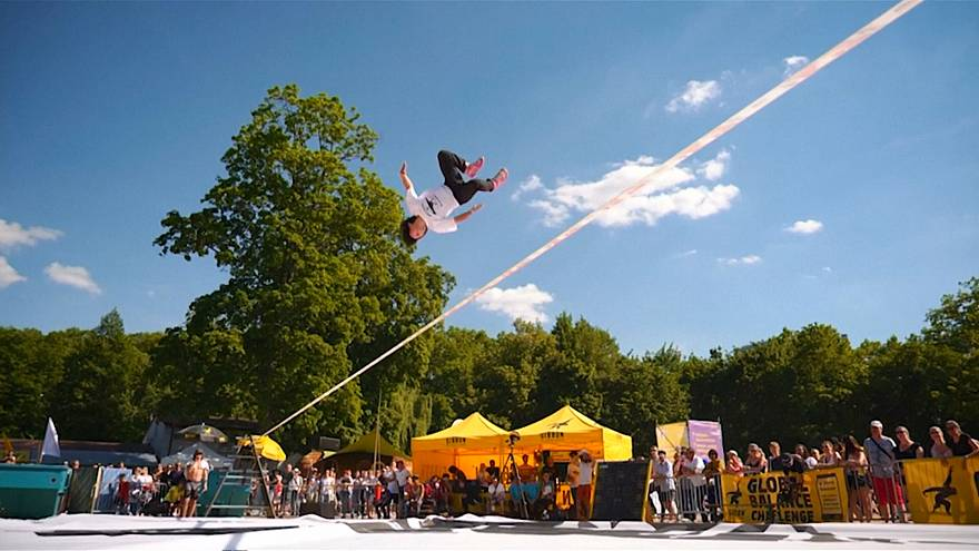 Triple flips and fearless stunts at the world slackline championships