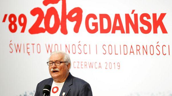Lech Wałęsa beszél a gdański évfordulón