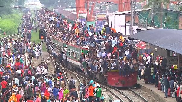 Trains overwhelmed as Bangladeshis go home for Eid