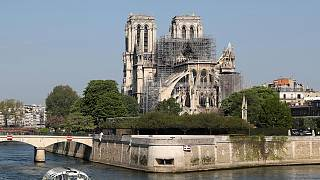 The Notre Dame Cathedral after the fire.