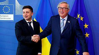 رئیس جمهوری جدید اوکراین در بروکسل؛ زلنسکی از «تهاجم روسیه» انتقاد کرد