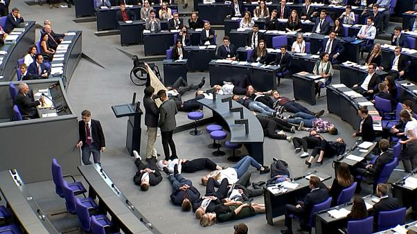Watch: Youth climate change demonstrators protest in German parliament