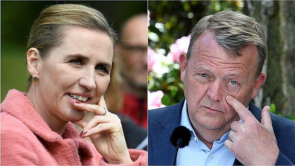Social democrat leader Mette Frederiksen and PM Lars Loekke Rasmussen