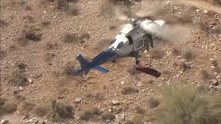 المروحية أثناء عملية نقلها السيدة السبعينية المصابة