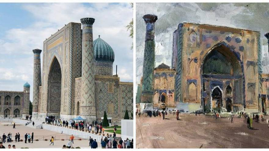 Watch: 13 artists come together in Samarkand to immortalise cultural sites in their drawings
