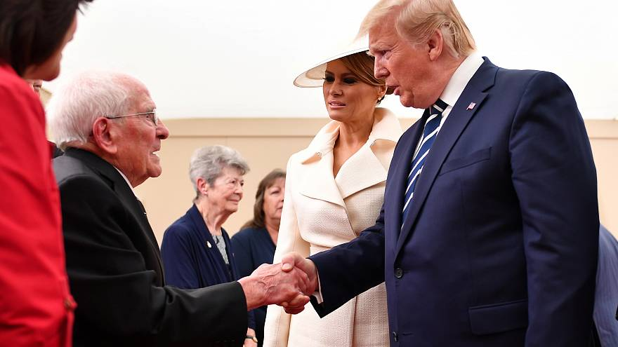 Donald and Melania Trump with 93-year-old Thomas Cuthbert.