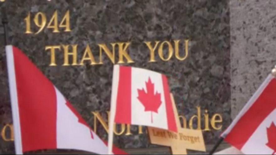 ادای احترام به سربازان کانادایی در هفتاد و پنجمین سالگرد عملیات متفقین