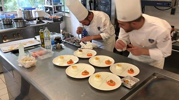 Military chefs compete Wednesday at the Institut Paul Bocuse