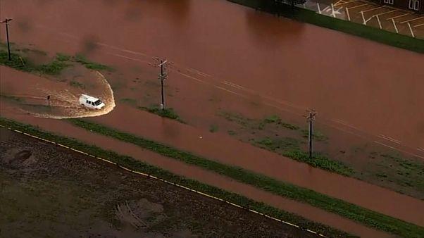 ویدئو؛ تصاویر هوایی از میزان آبگرفتگی و سیل در اوکلاهاما سیتی