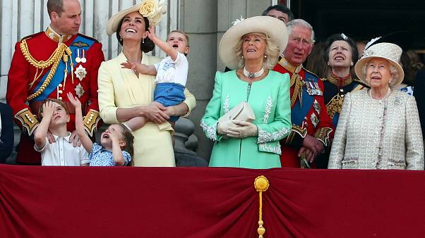 Britain's royal family during Trooping the Colour in London, Britain June 8, 2019.