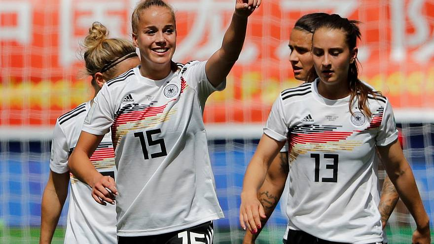 Germany's Giulia Gwinn celebrates scoring their first goal