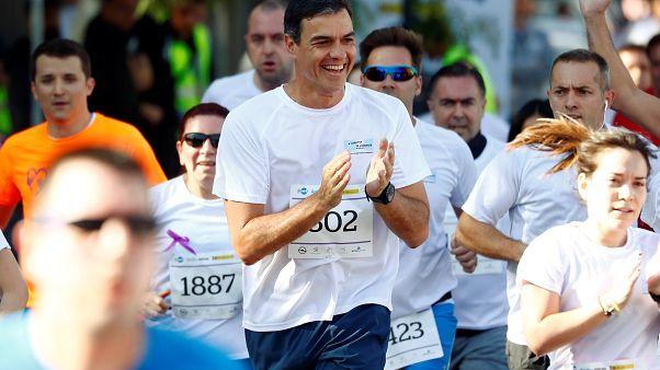 Pedro Sánchez corre contra la violencia machista
