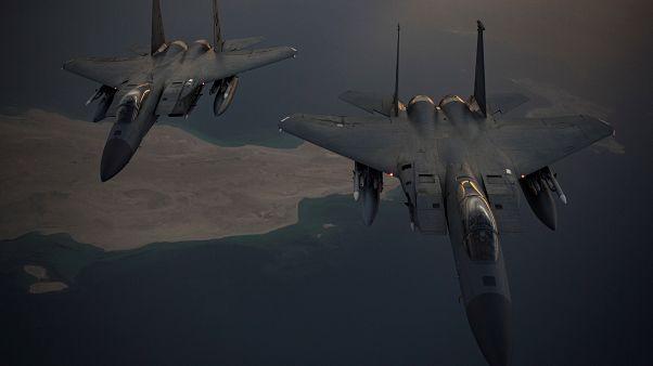 Aviones estadounidenses F-15C Eagles en el Golfo Pérsico