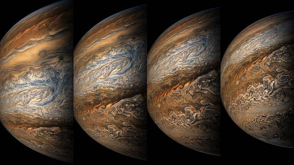 Jupiter calling: the planet and its four largest moons snuggle up to Earth