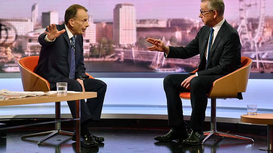 Britain's Environment Secretary Michael Gove appears on the BBC
