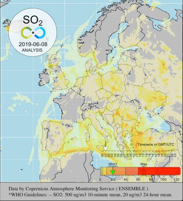 Copernicus Atmosphere Monitoring Service - Obtenido por Scapeler