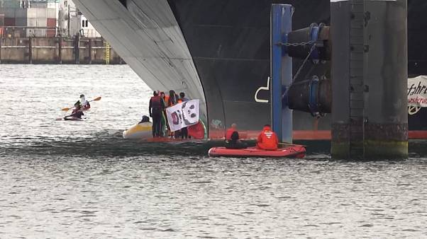 Climate change activists block cruise ship from leaving German harbour