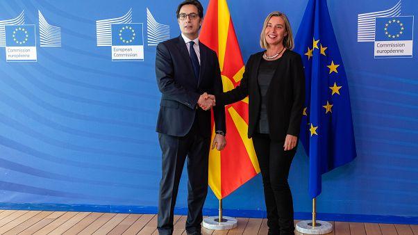 Stevo Pendarovski , to the left, & Federica Mogherini