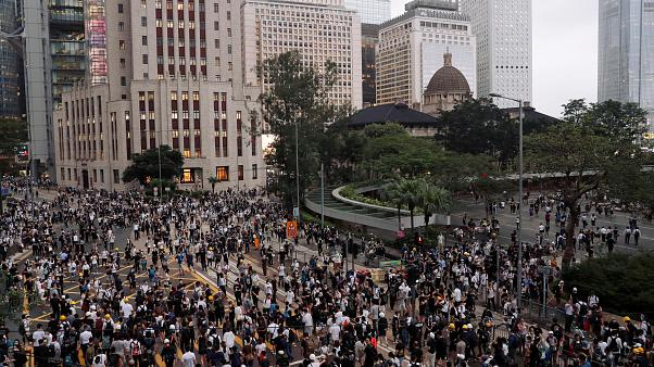 Protesters march during a demonstration against a proposed extradition bill in Hong Kong, China June 12, 2019.