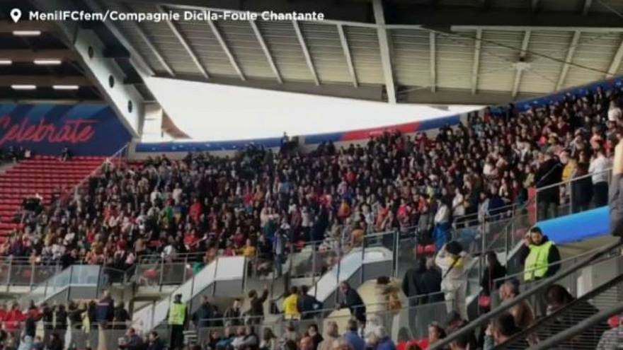 Choir belts out powerful rendition of French feminist anthem at Sweden-Chile game