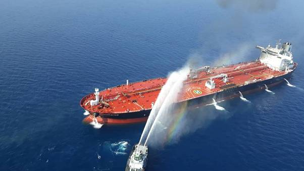 An oil tanker after it was attacked in the Gulf of Oman, June 13, 2019.