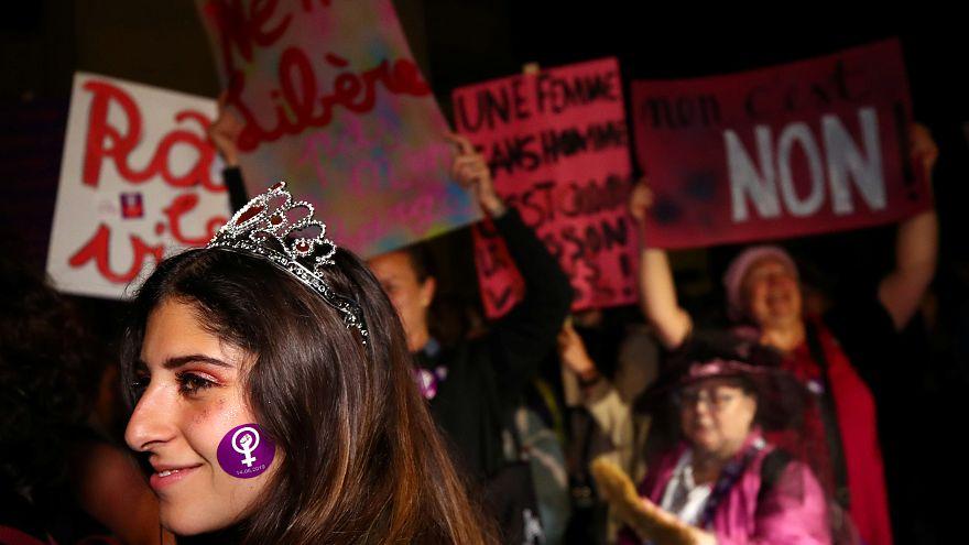 The women's strike in Lausanne, Switzerland on June 14, 2019