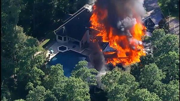 Two people injured as blaze ravages Texas mansion
