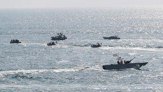 زوارق حربية إيرانية سريعة في مياه الخليج. كانون الأول/2018