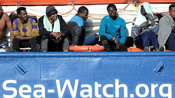 Migrants rest on board the Sea Watch 3 off the coast of Siracusa, Italy, January 27, 2019.