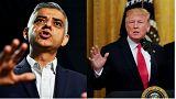 London Mayor Sadiq Khan (L) and US President Donald Trump (R)
