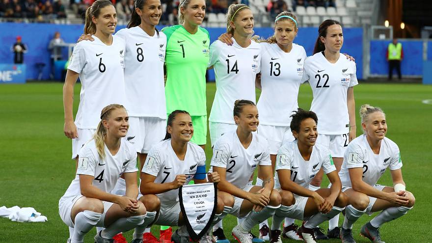 New Zealand players before the Women's World Cup match against Canada on June 15, 2019.