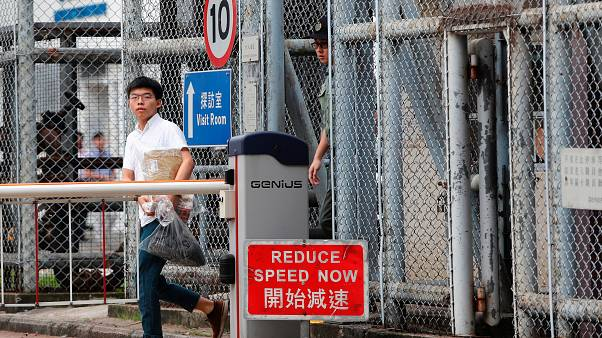 "Former student leader Joshua Wong walks out from prison after being jailed for his role in the Occupy Central movement, also known as ""Umbrella Movement"""