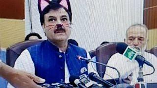 Pakistanlı bakan 'kedi kulakları' ile görüntülendi