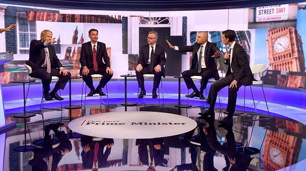 Candidates debate to replace British PM Theresa May in London, Britain June 18, 2019.