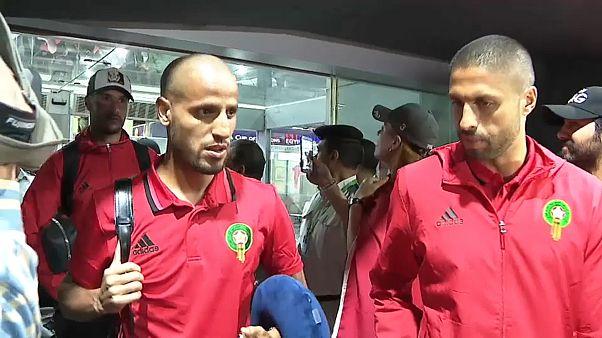 خروج لاعبي المنتخب المغربي من مطار القاهرة الدولي
