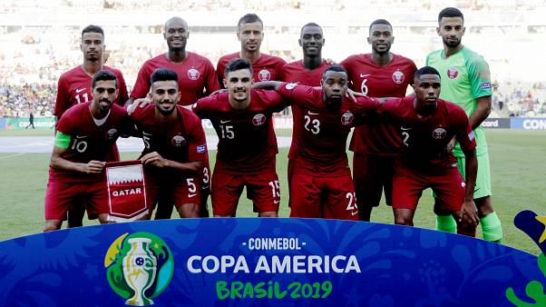 منتخب قطر في البرازيل خلال مباراته ضد البراغوي
