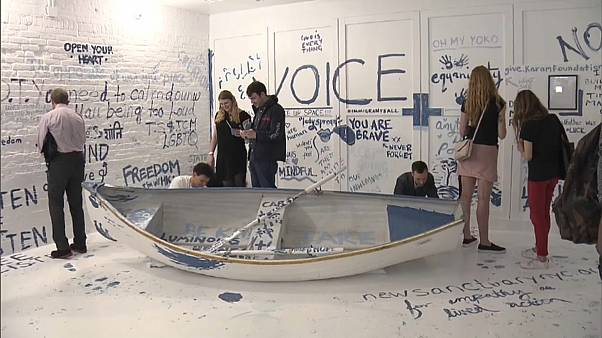 Watch: Yoko Ono refugee boat installation goes on display
