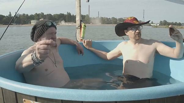 Watch: Finnish inventor takes to high seas in floating hot tub