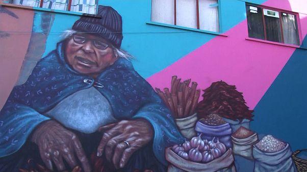 تغییر چهره یک محله در پایتخت بولیوی با نقاشی خیابانی