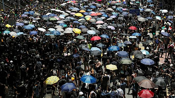 Black-clad protesters demand full withdrawal of Hong Kong extradition bill