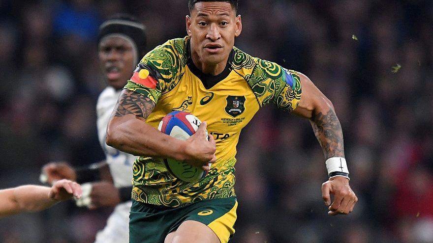 Australia's Israel Folau runs in November 2018 match