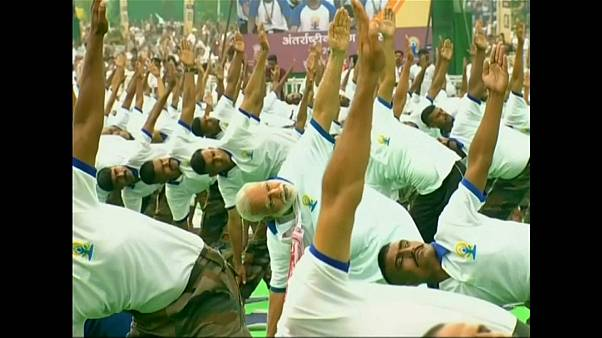 Modi joined 25,000 other yoga devotees for the session
