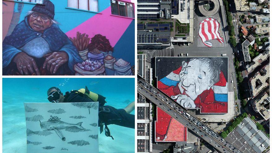ویدئوهای بدون شرح هفته؛ از بزرگترین نقاشی خیابانی در پاریس تا نقاشی زیر آب