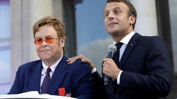 Sir Elton John is awarded France's highest civilian award by the French President
