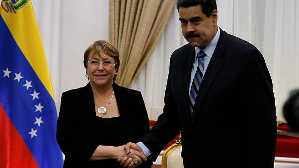 UN human rights chief meets with Maduro and Guaido as Venezuelans protest over humanitarian crisis