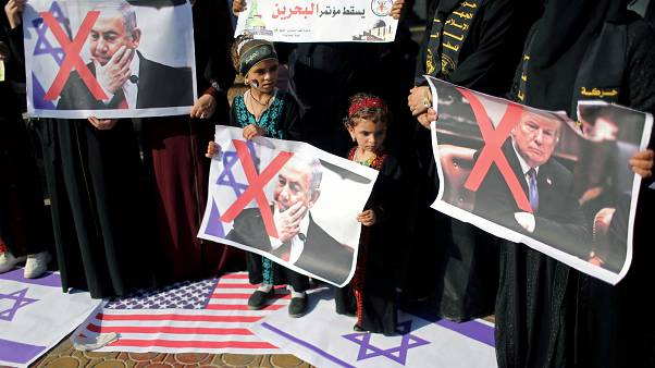 فلسطينيون يتظاهرون رفضا لخطة إدارة ترامب للسلام في الشرق الأوسط